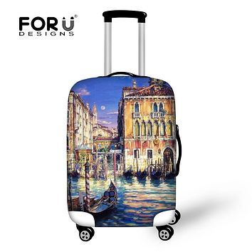 FORUDESIGNS Oil Painting landscape Prints Elastic Luggage Protective Covers For koffer Thick Waterproof Travel Suitcase Cover