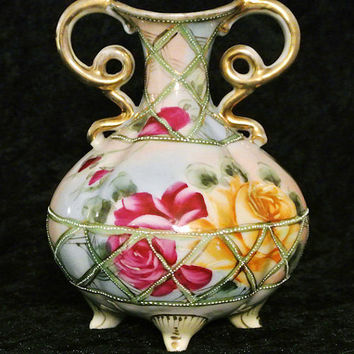 Antique Nippon Vase Urn Hand Painted Vase 1800s Porcelain Victorian Vase Roses Double Handled Fancy Scroll Beaded Enamel Footed Maple Leaf