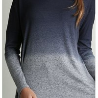 What A Stunner Midnight Navy Blue Ombre Wideneck Long Sleeve Top
