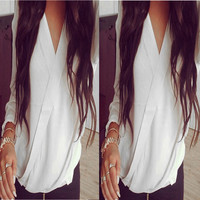 Summer Women's Fashion White Long Sleeve Sexy V-neck Chiffon Tops [6343421889]