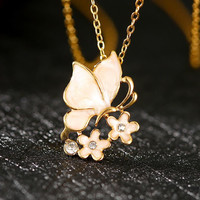 N695 Nickle  Anti-allergic18K Gold Plated  Butterfly Elegant Necklace worldwise