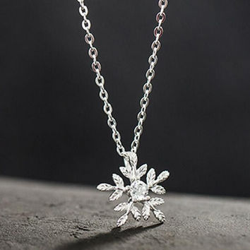 womens casual simple style snowflake necklace gift 48