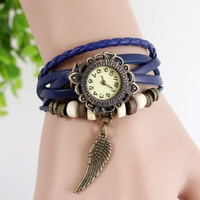Girl Fashion Leather Weave Watch Bracelet Quartz Movement Wrist Watch Wing = 1841626756
