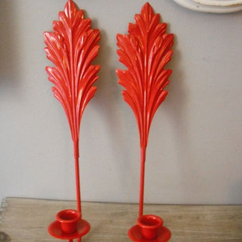 upcycled RED flourish Candle sconces ... wall sconces Pillar candle holders Holiday Christmas French Country