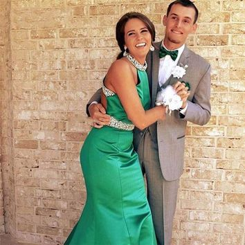 Sexy Green Backless Mermaid Prom Dresses Fashion Rhinestone Beaded Long Prom Gowns Formal Stain Cheap Women Evening Party Dress