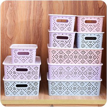 AsyPets Creative Plastic Desktop Hollow Storage Basket Underwear Storage Box Kitchen Organizer Clothes Toys Storage Container