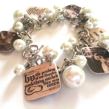 William Shakespeare Plays Charm Bracelet / Much Ado About Nothing, A Midsummer Night's Dream, Hamlet, Macbeth, and Romeo & Juliet