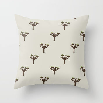 Owls in a tree - Fabric pattern Throw Pillow by Krusidull Illustrations
