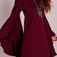 Burgundy A-Line Mini Dress with Flared Sleeve