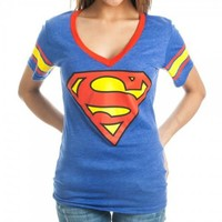 DC Comics Superman Logo Deep V-Neck Striped Sleeves Juniors Royal Blue T-shirt - Superman - | TV Store Online