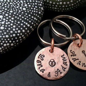 SALE D2E personalized engraved hand stamped his and hers lucky penny anniversary key chains