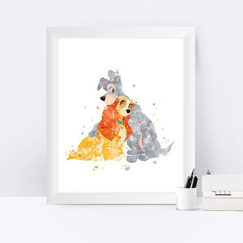 Lady and Tramp Print Disney Print Lady and the Trump Artwork Nursery Wall Art Decor Printable Watercolor Gift Instant Download