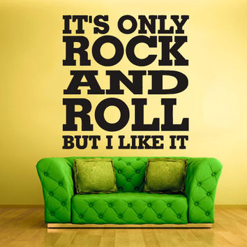 rvz838 Wall Vinyl Sticker Bedroom Decal Words Sign Quote Rock and Roll