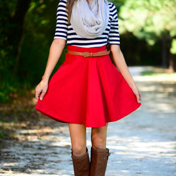 On Deck Dress, Navy/Red