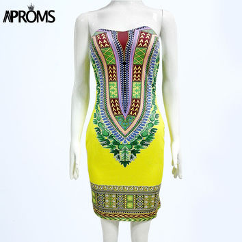 Aproms Boho African Print Dashiki Dresses for Women Summer Bodycon Club Dress Fall 2017 Sexy Off Shoulder Ladies Dress 2XL Robe