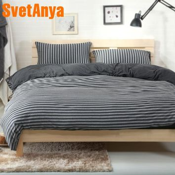 Svetanya Knitted Cotton Bedclothes Black Gray Stripes Printed Home Bedding Sets Fitted or Flat Bedsheet Quilt Cover Sets
