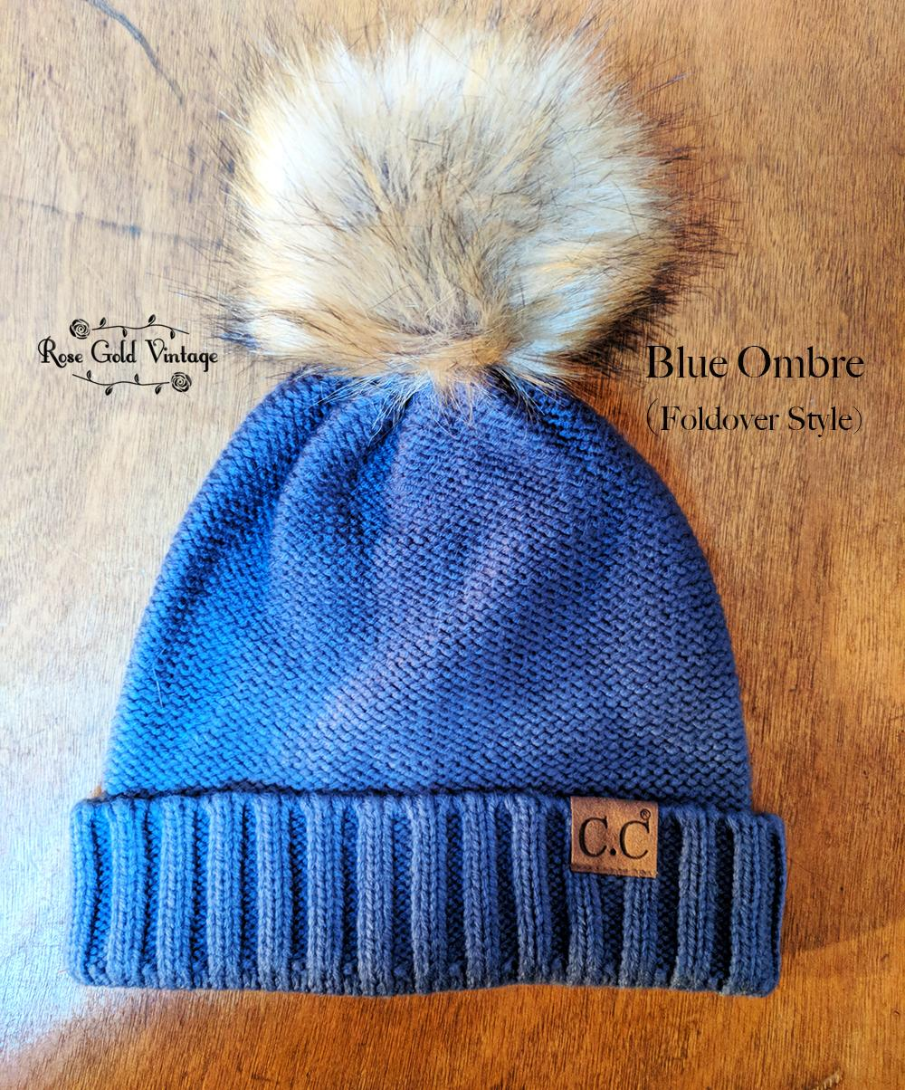 d774a02c155 Fur Pom Pom CC Beanie Hats from Rose Gold Vintage