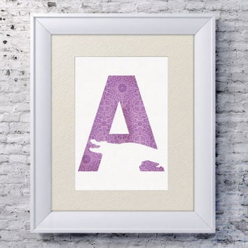 5x7 Alphabet Print 'A is for Alligator', Animal Name Art, Alligator Print, Baby Alphabet Print