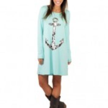 Mint Leopard Print Anchor Dress