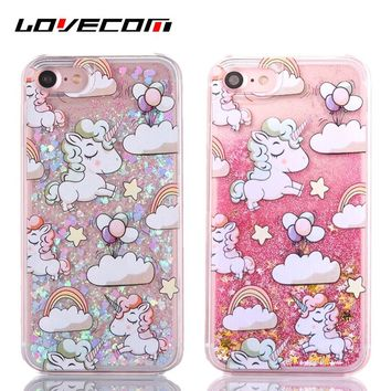 LOVECOM Cartoon Rainbow Horse Dynamic Paillette Glitter Stars Water Liquid Case For iPhone 6 6S 7 7 Plus Plastic Covers