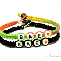 Bae Bracelets for Couples or Best Friends, Neon and Black Macrame Hemp Jewelry, Made to Order