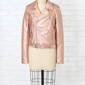 Metallic Pink Vegan Leather Jacket