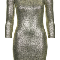 Snake Foil Mini Bodycon Dress - Gold