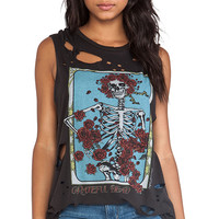 Lauren Moshi Roxanne Grateful Dead Rose Skeleton Vintage Muscle Tee in Black