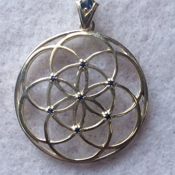 Sacred Geometry Seed of Life Pendant with Blue Sapphires and Custom Bail set in 925 Sterling Silver