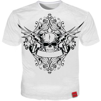 3D Skull T-shirts Men White Simple Tee Streetwear