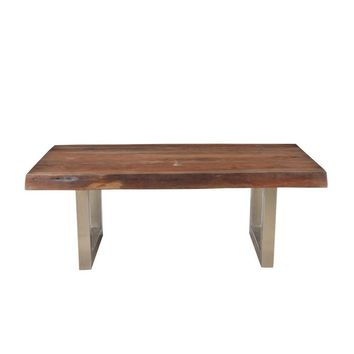 Solid Acacia Natural Wood Coffee Table with Iron Legs