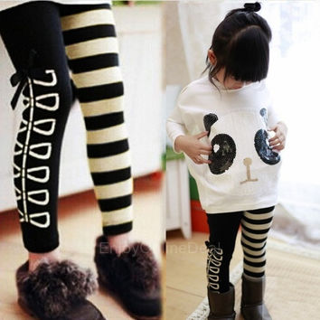 2014 children's girls clothing sets outfits 2pcs/set costume for kids panda batwing sleeve pullover coat+striped pants leggings = 1946332420