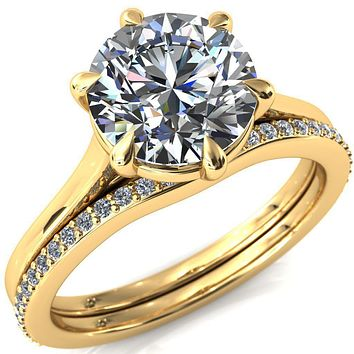 Lizzy Round Moissanite 6-Claw Prong Engagement Ring