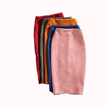 Red green blue yellow Women Faux Leather Suede Skirt high waist OL office Work hip Bust slim long Pencil skirt 2017 for women