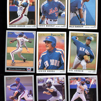 NEW YORK METS Vintage Baseball Cards 9 Card Lot 1992 Leaf and O-Pee - Chee Premier features Dwight Gooden,Free Shipping
