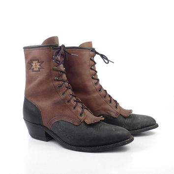 Abilene Roper Boots Vintage 1990s Leather Black and Brown Granny Lace up Boots Women's size 6 1/2
