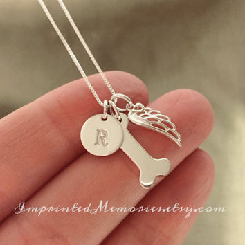 In Memory of a dog Necklace Sterling Silver - Dog Memorial Necklace - loss of a dog - My Angel Has Paws jewelry - dog memorial jewelry