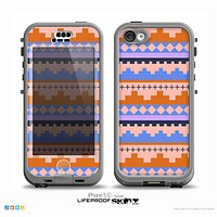 The Pink-Blue & Coral Tribal Ethic Geometric Pattern Skin for the iPhone 5c nüüd LifeProof Case