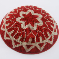 BordeauxBeige Crochet Yarmulke Kippah Hand made by by ShoshiStudio