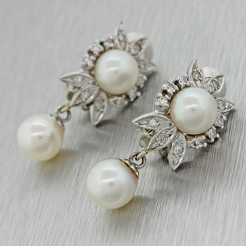 1930s Antique Art Deco Estate 14k Solid White Gold Pearl .45ctw Diamond Earrings