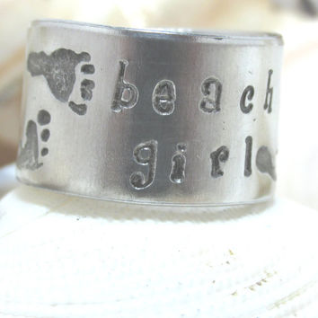 Beach Girl Foot Print Hand Stamped Adjustable Ring (Ring 41013B)