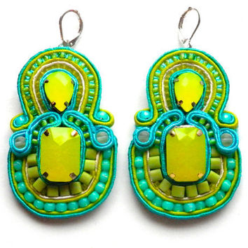 MINT LEMONADE soutache earrings in turquoise and lime
