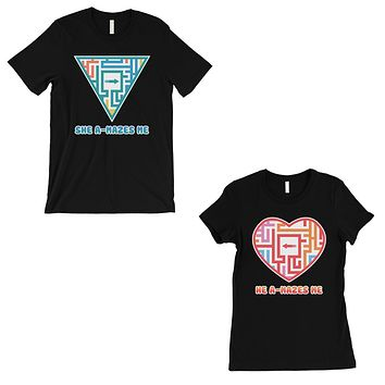 A-Mazes Me Black Matching T-Shirts Couples Anniversary Gift For Him