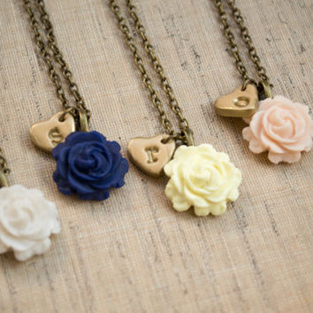 Initial Necklace. Polymer Clay Rose and Heart Personalized  Necklace. Rose Pendant. Custom Gold Initial. Flower Jewelry. Bridesmaid Gift.