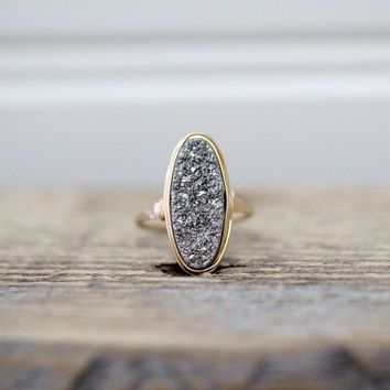 Long Oval Druzy Ring - Platinum