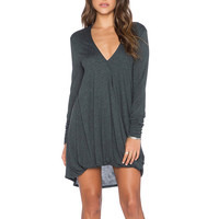 Deep Grey V-Neck High Low Asymmetric Dress