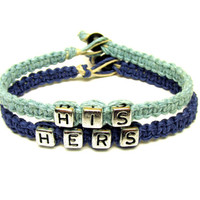 Couples Bracelet Set, Light and Dark Blue Hemp Jewelry, His Hers, Valentines Day Gift, Free North American Shipping