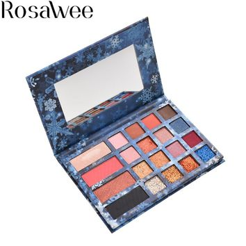 ROSAWEE 20 Colors Eyeshadow Pallete Fashion Diamond Glitter Eye Shadow Blush Set Professional Makeup High Pigment Palette ES603