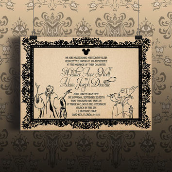 Instant Download-Disney Villains Cruella Maleficent Gothic Vintage DIY Printable Wedding Event Birthday Party Shower Invitation Template
