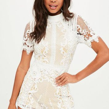 Missguided - White High Neck Romper